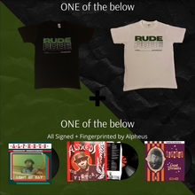 Load image into Gallery viewer, Alpheus 'Rude' Mens Tee + Album Vinyl LP Signed & Fingerprinted By Alpheus Bundle