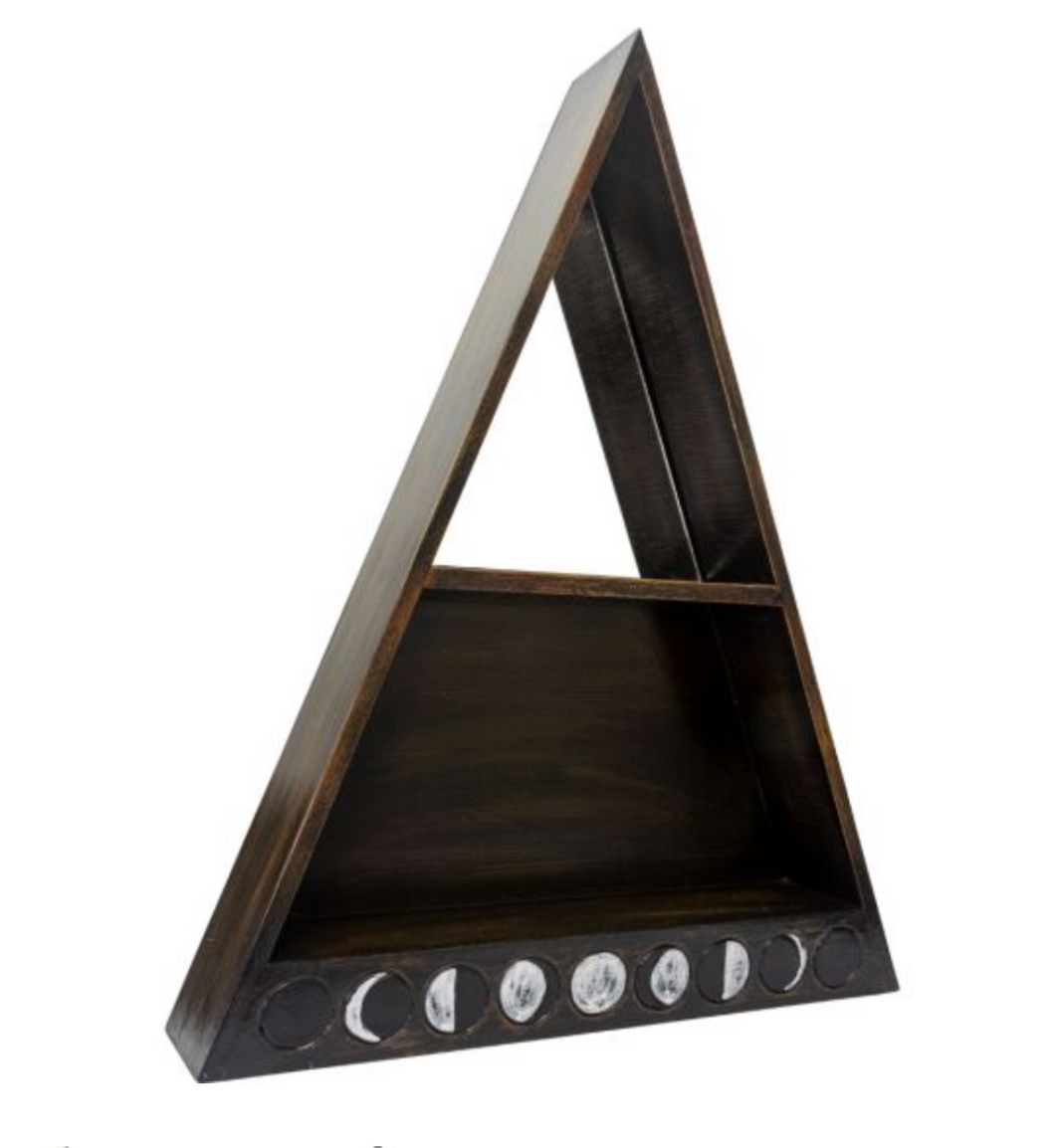 Wooden Moon Phases Altar Shelf w.Mirror