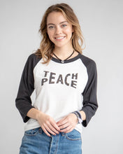 "Load image into Gallery viewer, ""TEACH PEACE"" white & black Unisex Baseball Tee"