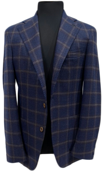 Blue checked wool jacket