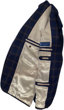 Load image into Gallery viewer, Blue checked wool jacket