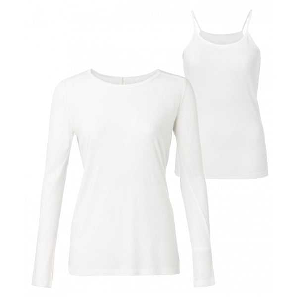 YAYA - LONG SLEEVE BASIC TOP WHITE - Shop Solee Shoes