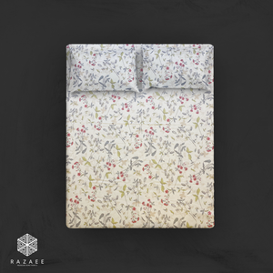 Floral printed fitted sheet with pillow