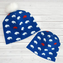 Load image into Gallery viewer, Red and Blue Buffalo Beanie