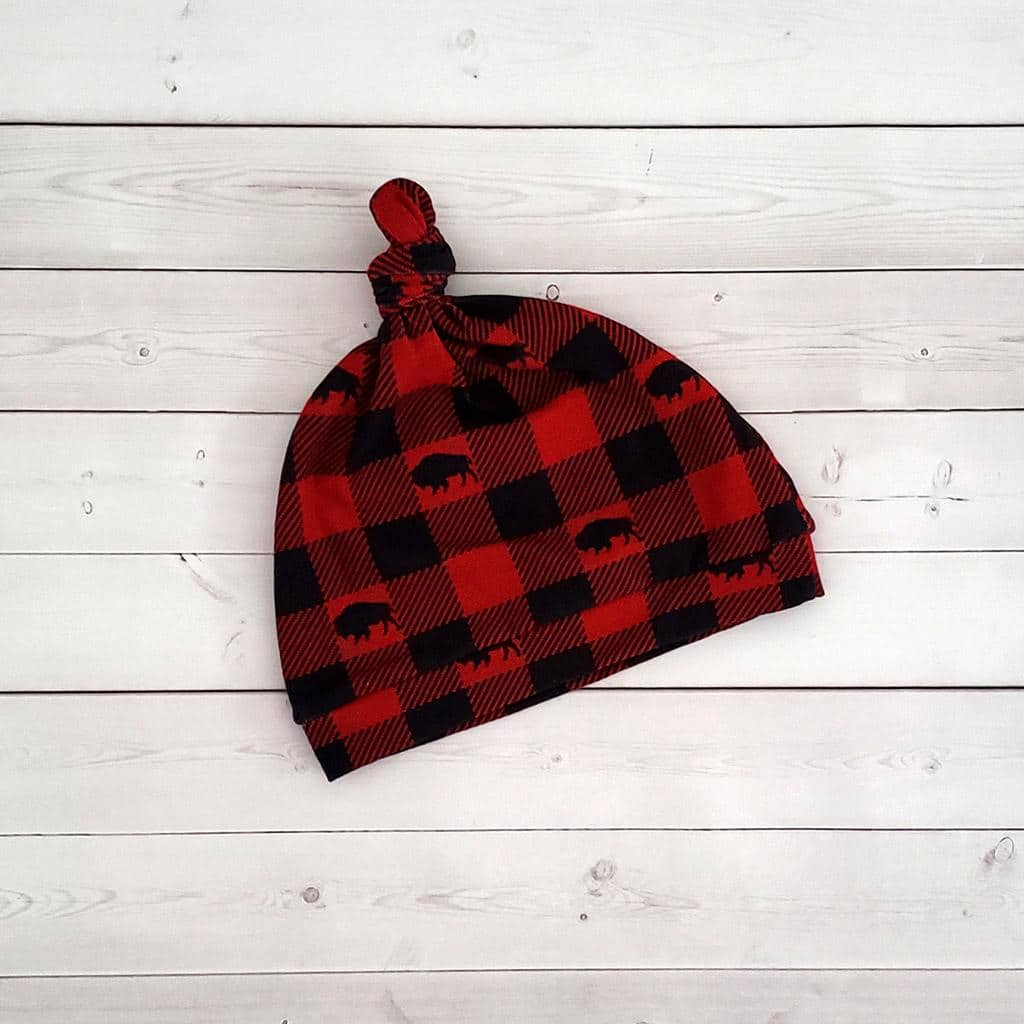 Buffalo Plaid Knot Hat