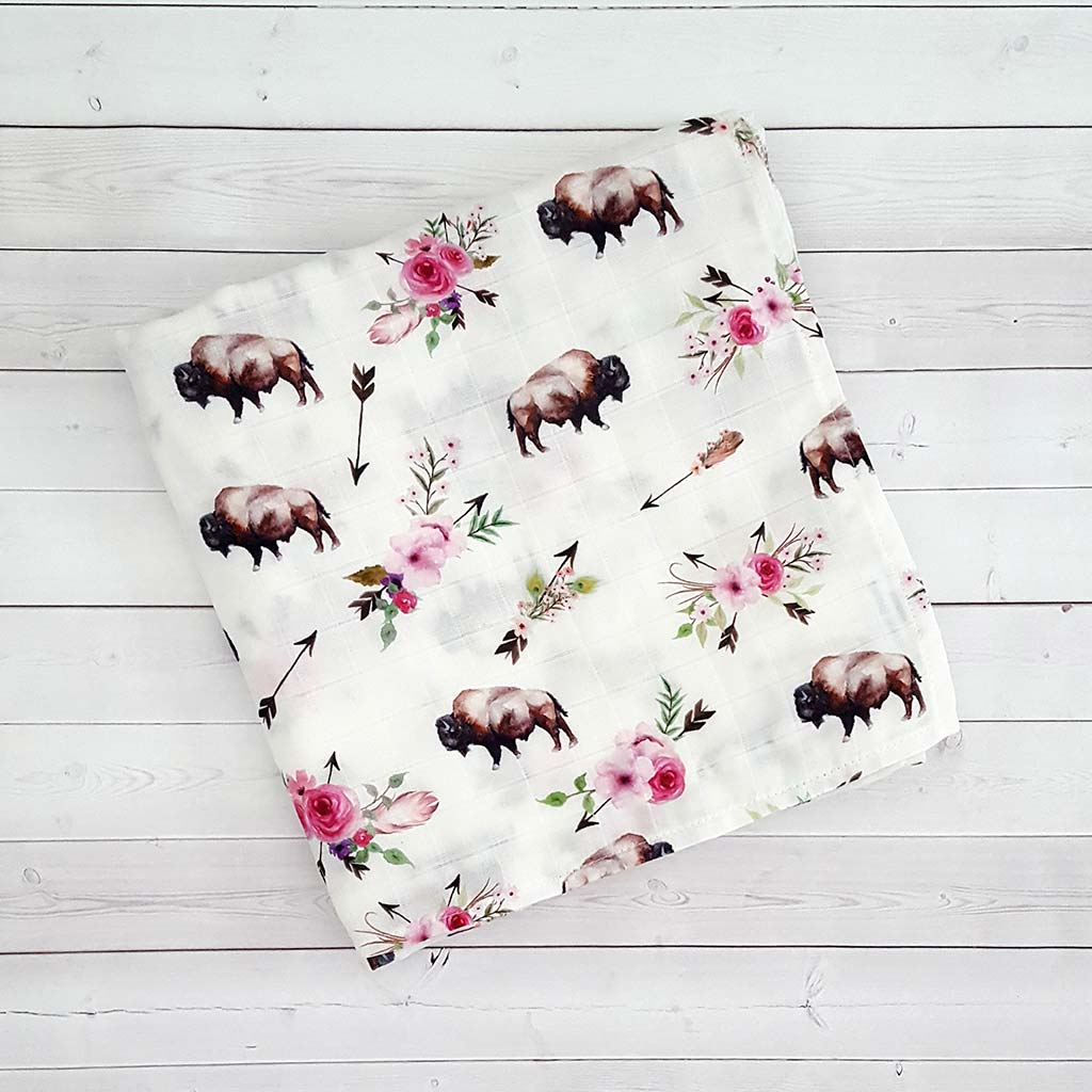 Floral Buffalo Swaddle Blanket