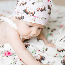 Load image into Gallery viewer, Floral Buffalo Swaddle Blanket