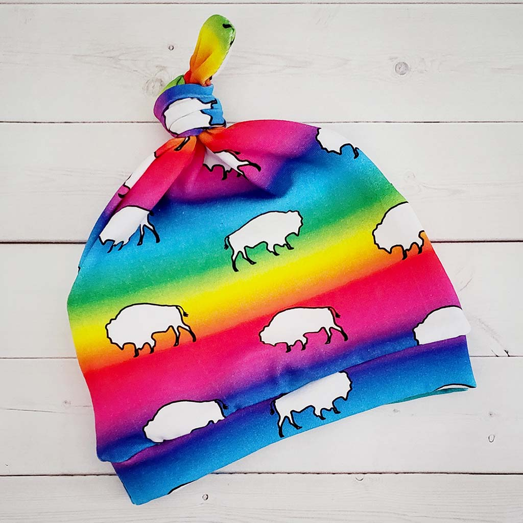 Rainbow Buffalo Knot Hat
