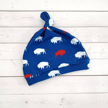 Load image into Gallery viewer, Red and Blue Buffalo Knot Hat