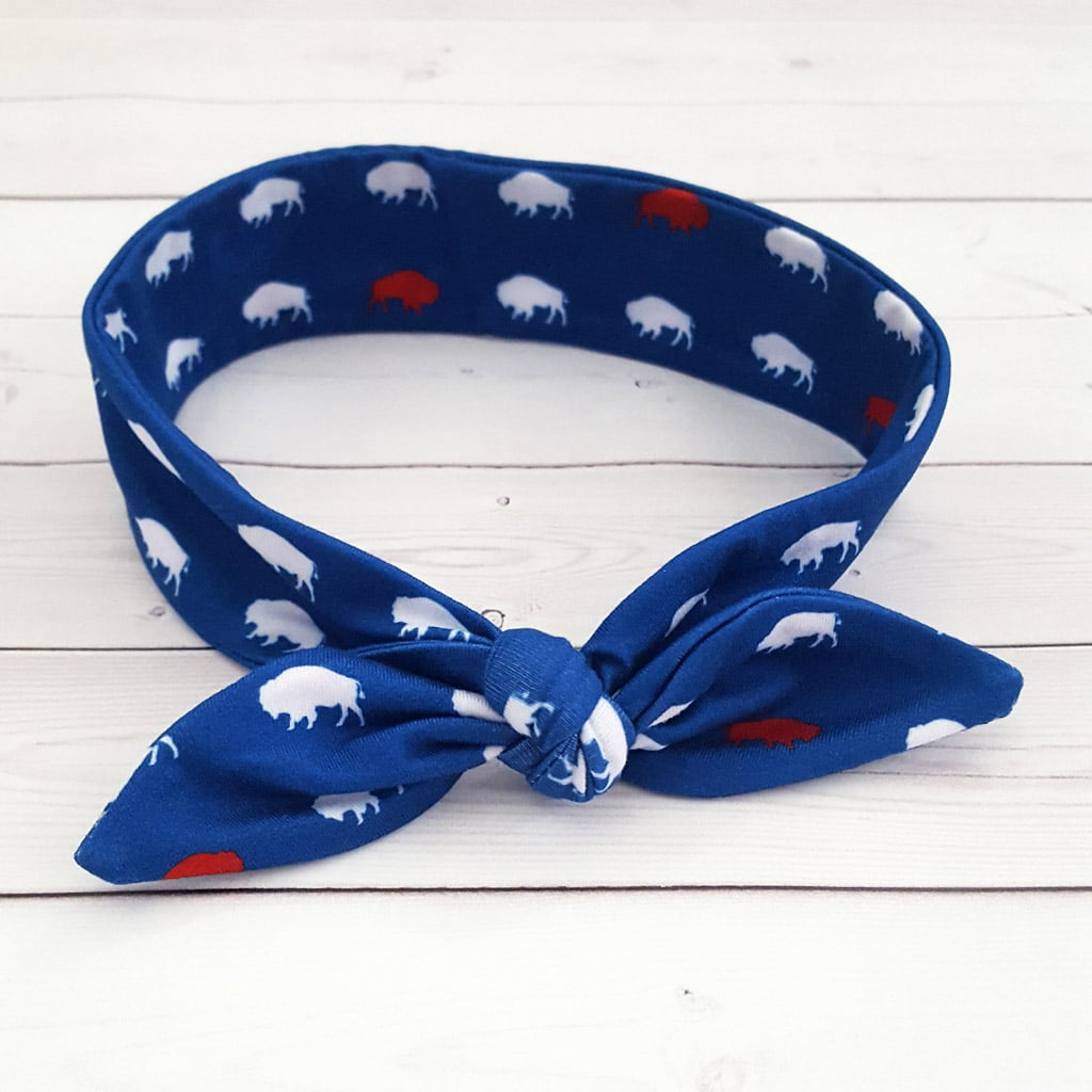 Red and Blue Buffalo Top Knot Headband