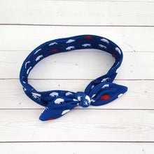 Load image into Gallery viewer, Red and Blue Buffalo Top Knot Headband