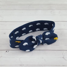 Load image into Gallery viewer, Blue and Gold Buffalo Top Knot Headband