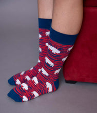 Load image into Gallery viewer, Red and Blue Zebra Buffalo Socks