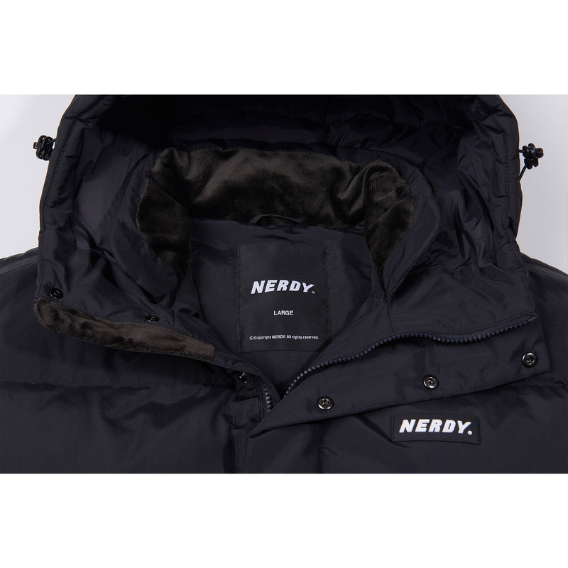 NY Track Solid Long Down Jacket Black - NERDY US