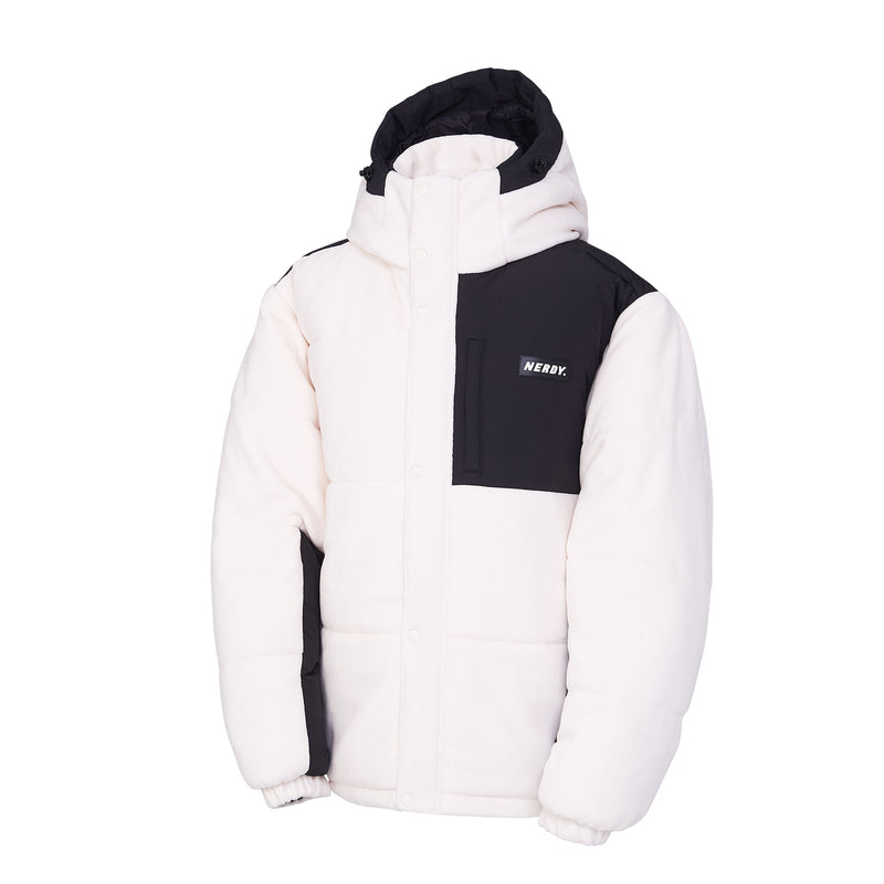 Fleece Block Padded Jacket Ivory - NERDY US