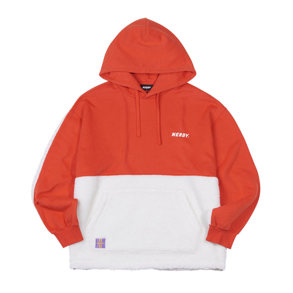 Fleece Block Pullover Hoodie Orange - NERDY US