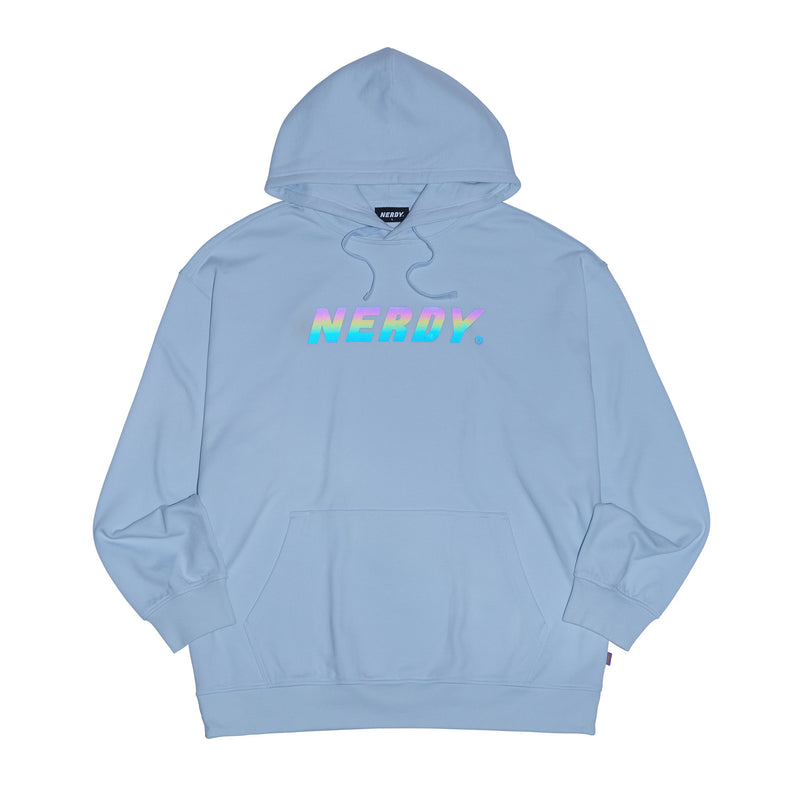 Rainbow Logo Pullover Hoodie Light Gray - NERDY US