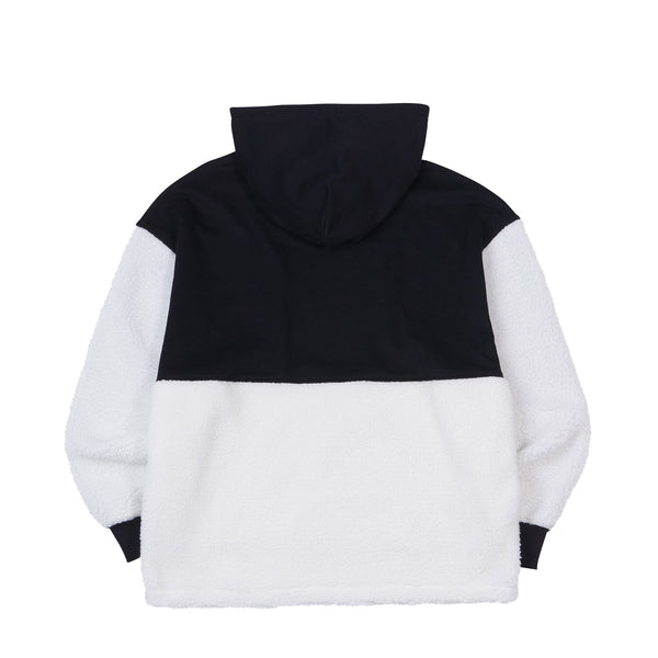Fleece Block Pullover Hoodie Black - NERDY US