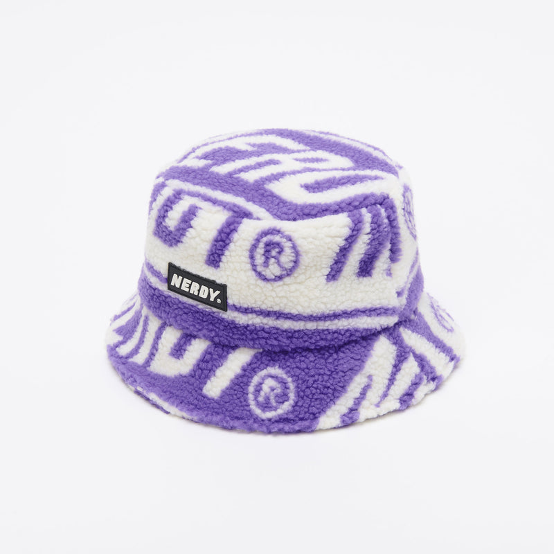 Logo Pattern Fleece Bucket Hat Purple - NERDY US
