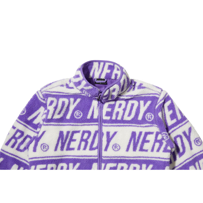 Logo Pattern Fleece Jacket Purple - NERDY US