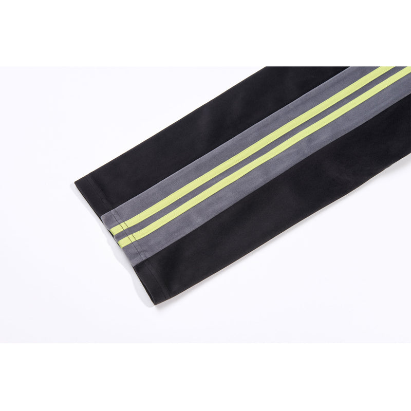 Color Block Velour Track Pants Black - NERDY US