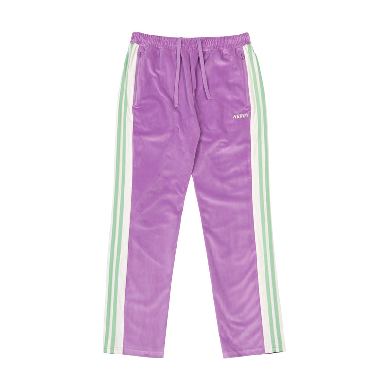 Color Block Velour Track Pants Light Purple - NERDY US