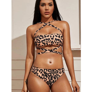 Leopard print strapless tube top swimsuit