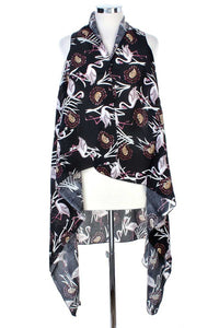 Draped Flamingo Printed Vest - StylezbyFuse Boutique
