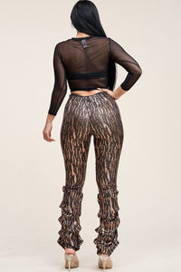 High Rise Stacked Pant 3/ 4 Top Set - StylezbyFuse Boutique