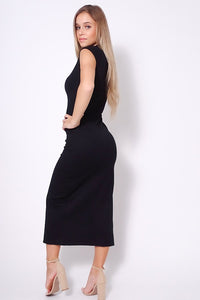 High Neck Cap Sleeve Slitted Basic Midi Dress - StylezbyFuse Boutique