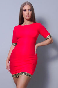 Sexy Basic Geo Trim Bodycon Mini Dress - StylezbyFuse Boutique