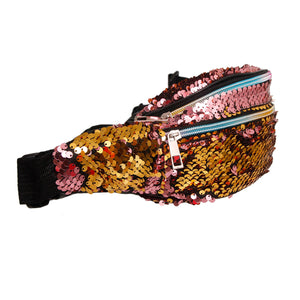 Rose Gold Sequin 3 Pocket Fanny Pack