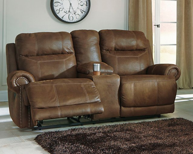 Austere Signature Design by Ashley Brown Reclining Loveseat with Console