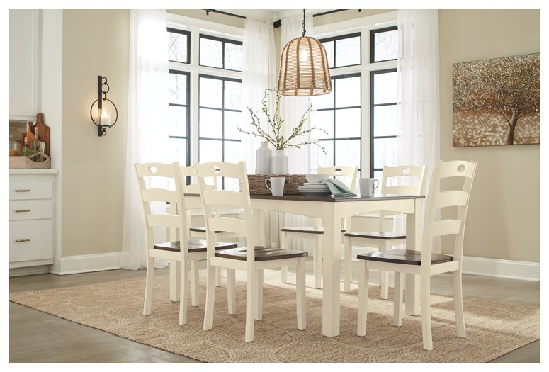 Woodanville Signature Design by Ashley CreamBrown Dining Table and Chairs Set of 7