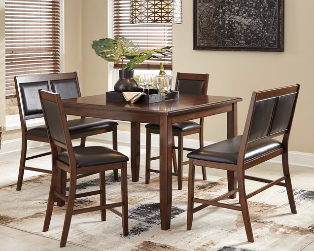 Meredy Signature Design by Ashley Brown Counter Height Dining Table and Bar Stools Set of 5