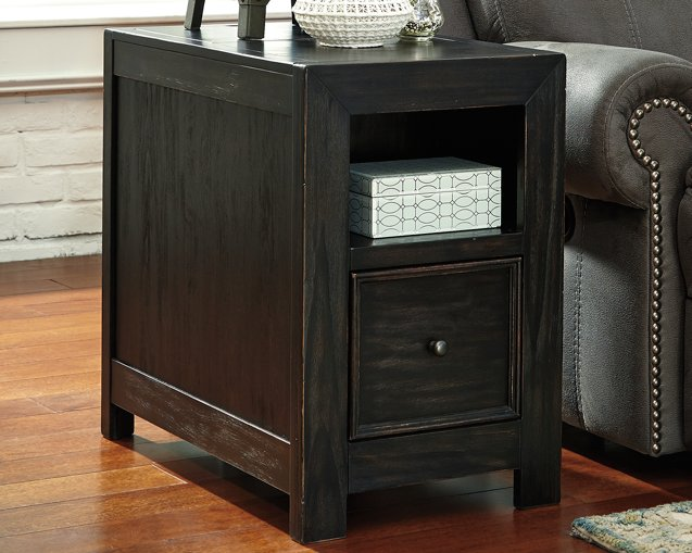 Gavelston Signature Design by Ashley Rubbed Black Chairside End Table with USB Ports  Outlets