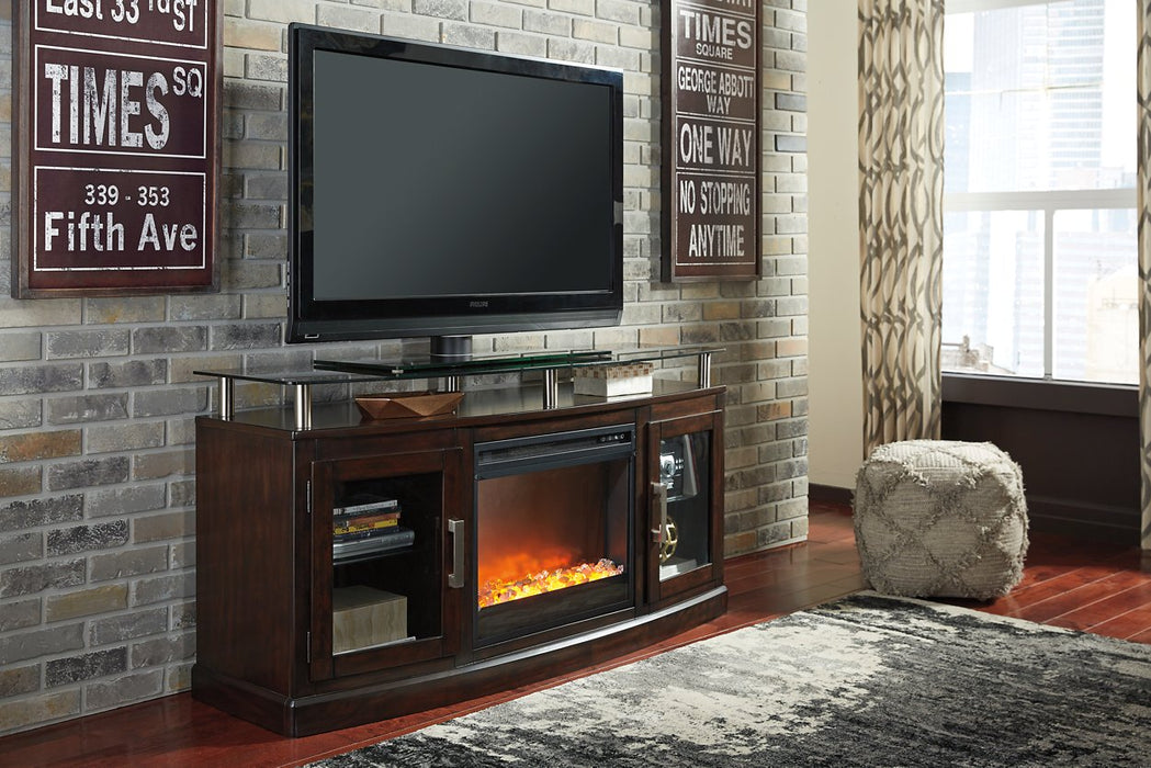 Chanceen Signature Design by Ashley Dark Brown 60 TV Stand with Electric Fireplace