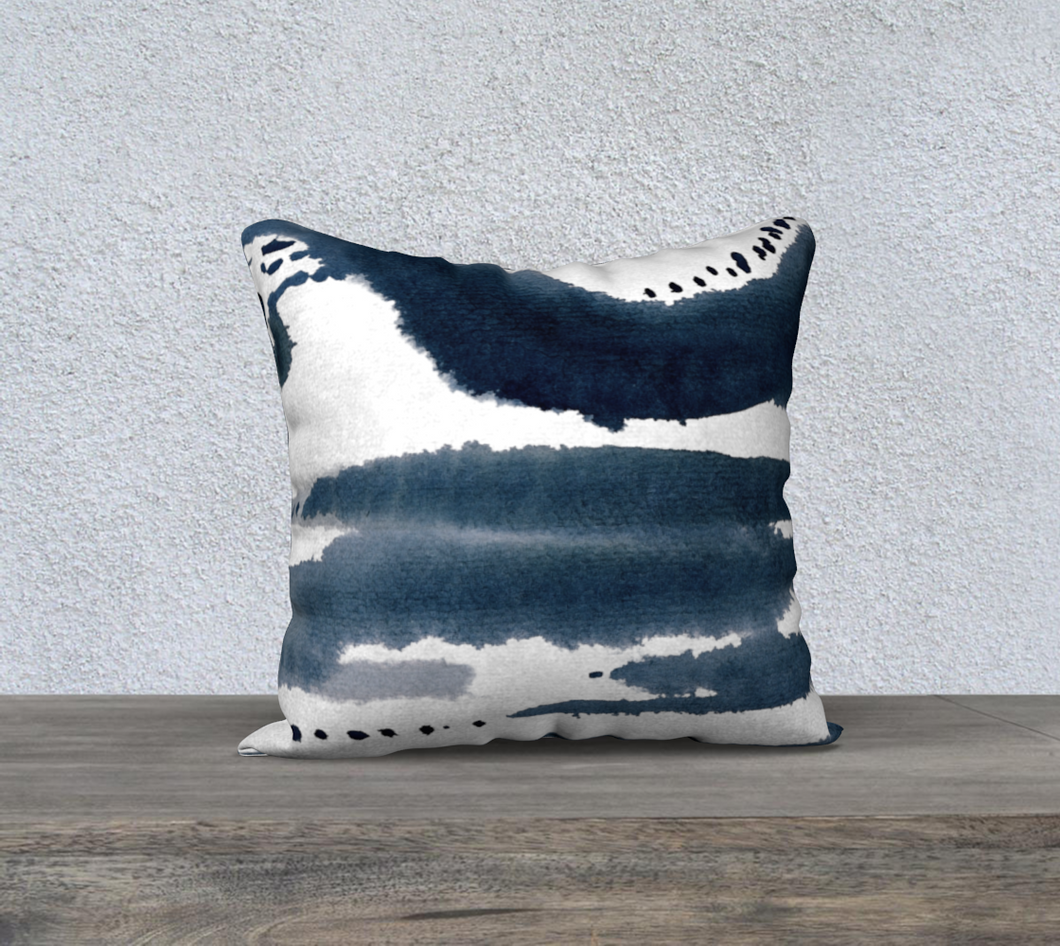Navy Abstract Watercolor Throw Pillow