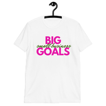 Load image into Gallery viewer, Small Business White Short-Sleeve Unisex T-Shirt| Pink + Green Words