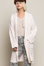 Cream Cable Hooded Cardi