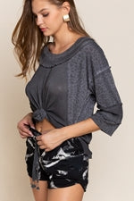 Black Leopard Knit Top SS