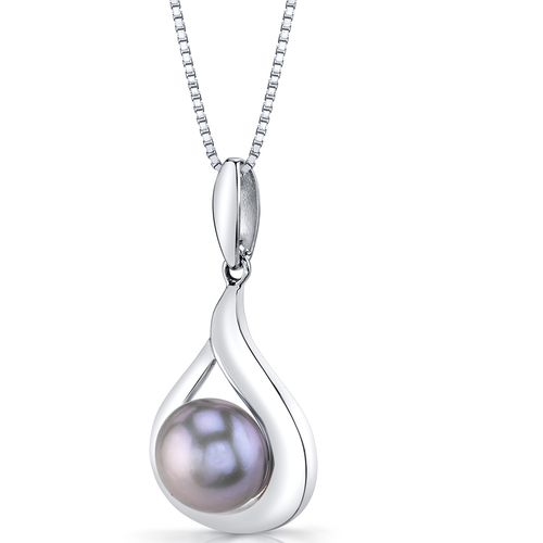 Fresh Water Cultured Grey Pearl Necklace