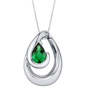 Simulated Emerald Wave Pendant SS