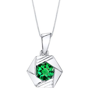 Simulated Emerald Circle Square Pendant SS