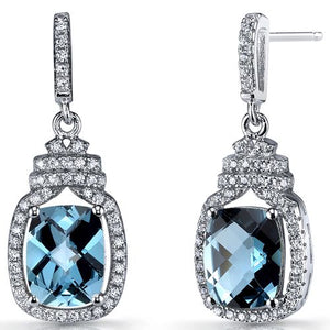 SS London Blue Topaz Halo Dangle