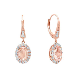 Lever-Back Halo Drop Earrings