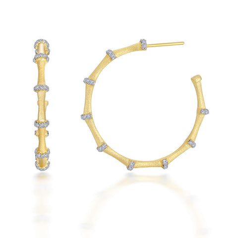 Mixed-Color Bamboo Hoop Earring