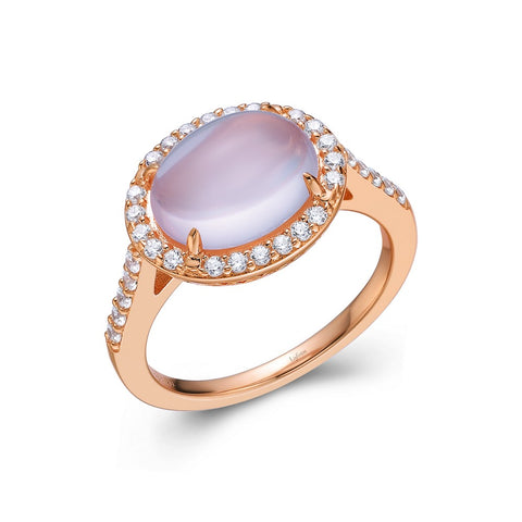 Genuine Rose Quartz Halo Ring