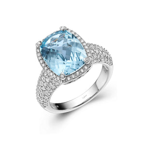 Genuine Blue Topaz Halo Ring GR