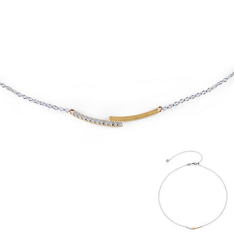 Mixed-Color Pave Bar Necklace